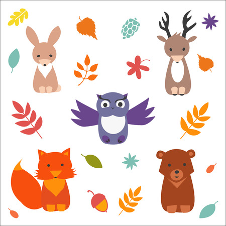 Set of  cute forest animals. Vector flat collection.