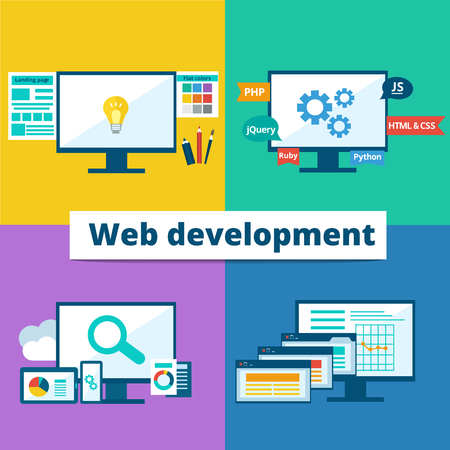 Illustration for flat set of concept web development elements. Stages of web development. Icons for web design, application development,web programming, seo, testing. - Royalty Free Image