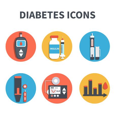 Illustration pour Vector diabetes infographic elements isolated on white background. Diabetes equipment icons set. - image libre de droit