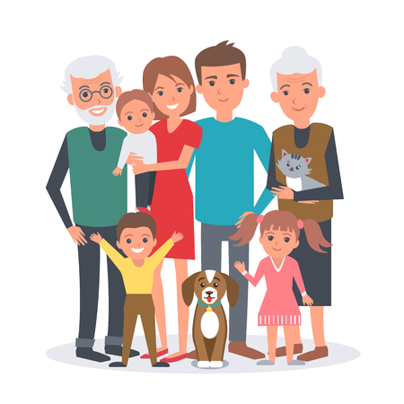 Illustration pour Big family vector illustration. Big family with children, parents, grandparents and pets. Family portrait isolated on white background. - image libre de droit