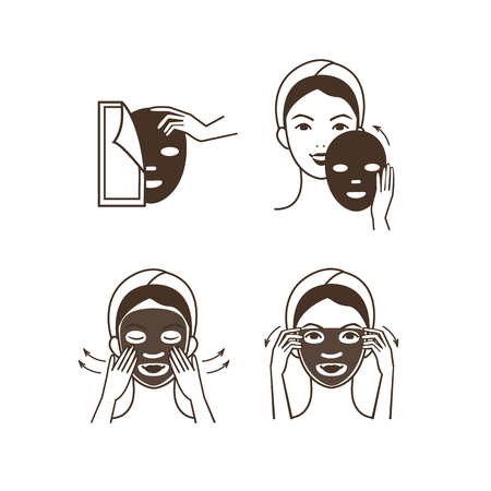 Illustration pour Steps how to apply facial mask. Vector isolated illustrations set. - image libre de droit
