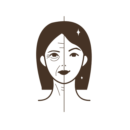 Illustration pour Half old half young woman. Woman face before and after facelift. Vector illustration. - image libre de droit