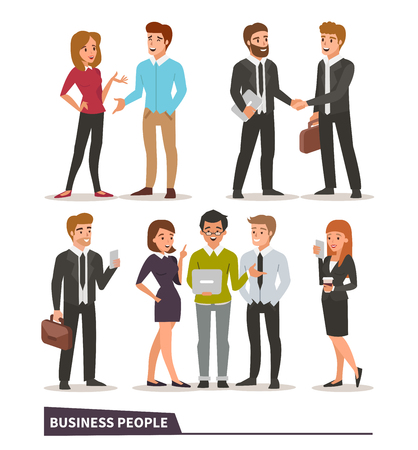 Illustration pour Business characters collection. Talking colleagues, business handshake, teamwork, business people with gadgets. Vector illustrations. - image libre de droit