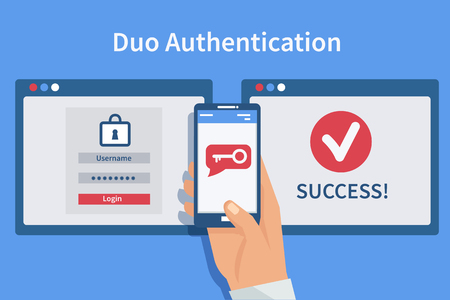 Ilustración de Two steps authentication concept. Duo verification by smartphone and approvement. Vector illustration. - Imagen libre de derechos