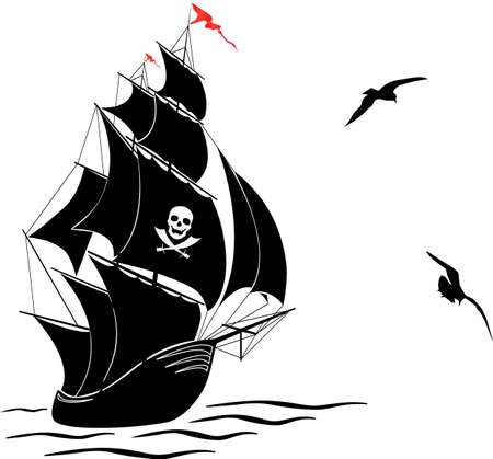 A silhouette of a old sail pirate ship and two gulls - vector illustration