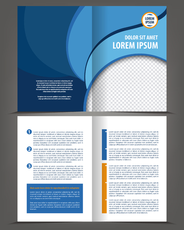 Illustration pour Vector empty bi-fold brochure print template design, newsletter booklet layout - image libre de droit