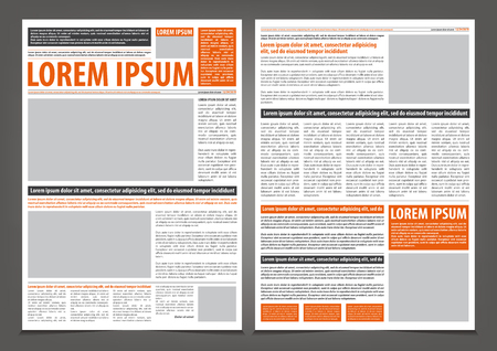 Illustration pour Vector empty newspaper print template design with orange and black elements - image libre de droit