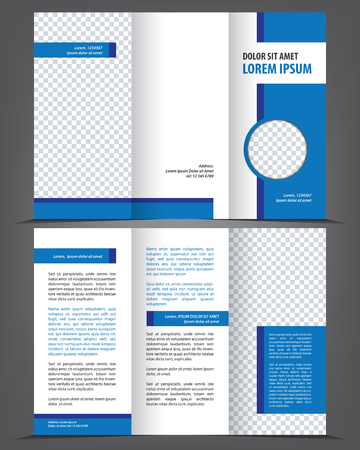 Illustration for Vector empty trifold brochure print template design with blue elements - Royalty Free Image