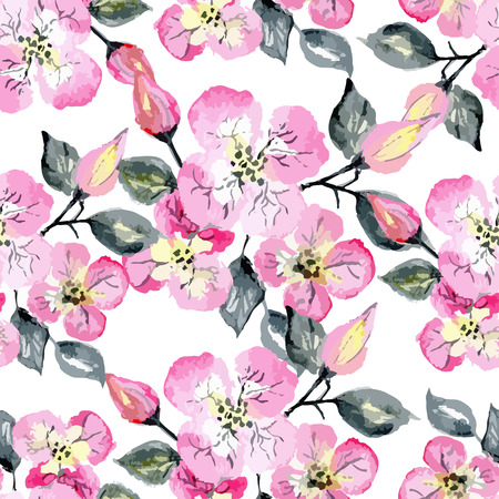 Illustration pour Vector watercolor seamless bright blossom pattern, floral spring branch ornament, fashion print for fabric, big watercolor pencil drawing flowers - image libre de droit