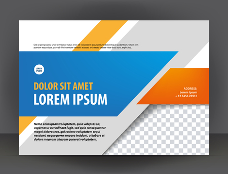 Illustration pour Modern light gray, orange and blue certificate or diploma design print template, brochure - image libre de droit