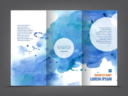 Illustration pour empty tri-fold brochure template print blank watercolor design, blue watercolour - image libre de droit