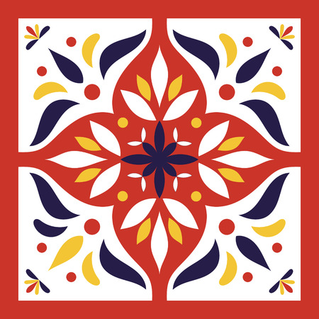 Illustration for Red, blue, yellow and white tile vector. Italian majolica or portugal tiles pattern with oriental ornaments. - Royalty Free Image