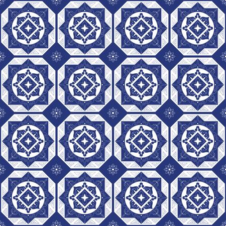 Ilustración de Holland blue white porcelain tile floor - mosaic tiled pattern. Abstract geometric seamless background. Ornament fabric, ceramic or surface design pattern vector. - Imagen libre de derechos