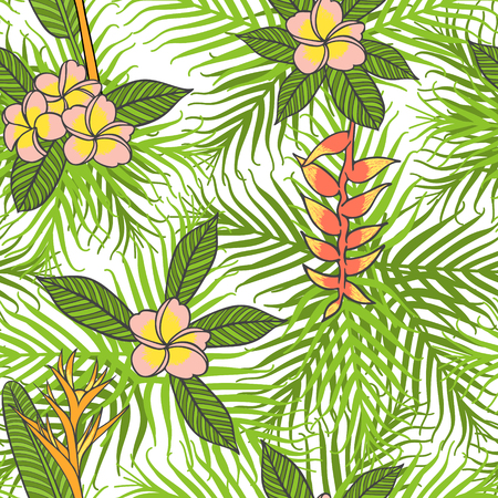 Ilustración de Tropical palm leaf pattern vector seamless. Exotic flowers on white background. Fashion print design for hawaiian party invitation, paradise island vacation flyer or swimwear fabric. - Imagen libre de derechos
