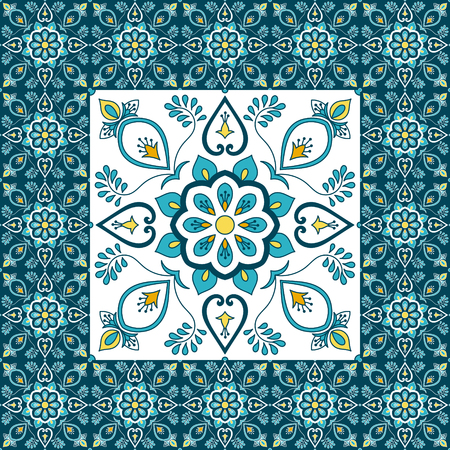 Illustration for Portuguese tile pattern floor vector with ceramic print. Big element in center is framed. Background with portugal azulejo, mexican talavera, spanish, italian majolica, moroccan motifs. - Royalty Free Image