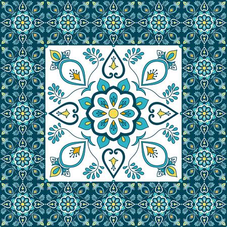 Ilustración de Portuguese tile pattern floor vector with ceramic print. Big element in center is framed. Background with portugal azulejo, mexican talavera, spanish, italian majolica, moroccan motifs. - Imagen libre de derechos