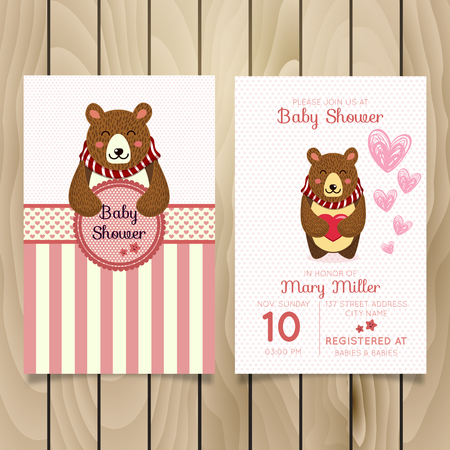Illustrazione per Baby Shower invitation template with hand lettering, cute cat illustration. - Immagini Royalty Free