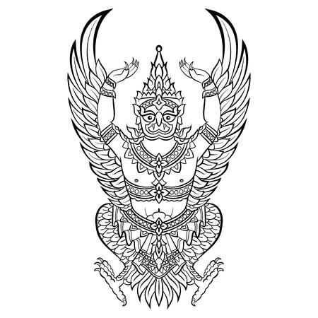 Illustrazione per Garuda, bird of Vishnu. Vector illustration isolated - Immagini Royalty Free