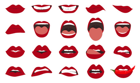 Illustrazione per Woman lips gestures set. Girl mouths close up with red lipstick makeup expressing different emotions. - Immagini Royalty Free