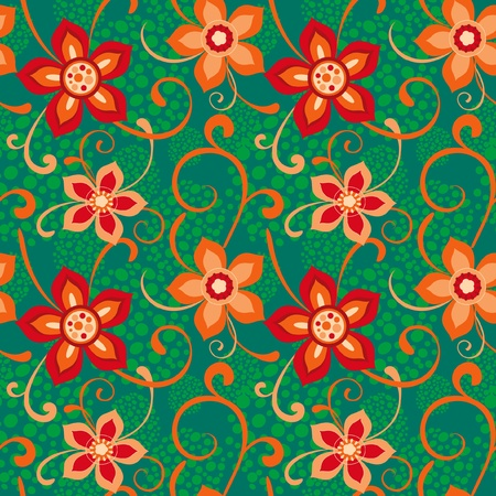 Colorful seamless floral ornament red and green mural