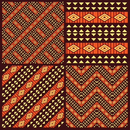 Illustration for Set of tribal african seamless patterns - Royalty Free Image
