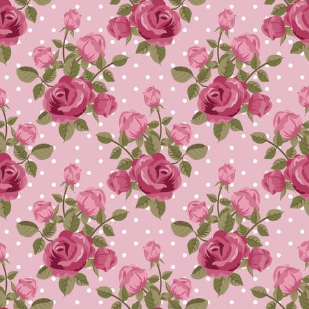 Ilustración de Pink rose wallpaper seamless pattern - Imagen libre de derechos
