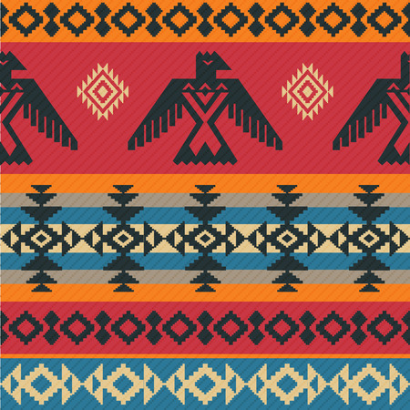Illustration for Eagles ethnic geometric tribal vector pattern on native american style - Royalty Free Image