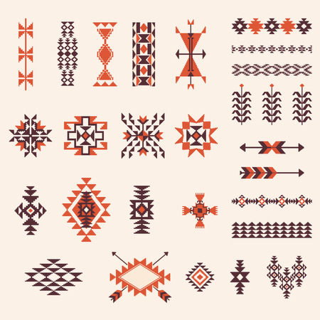 Illustration for Native american navajo aztec pattern vector elemets design set - Royalty Free Image
