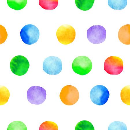 Illustration pour Watercolor hand drawn brush dots background. Colorful polka dot vector seamless pattern - image libre de droit
