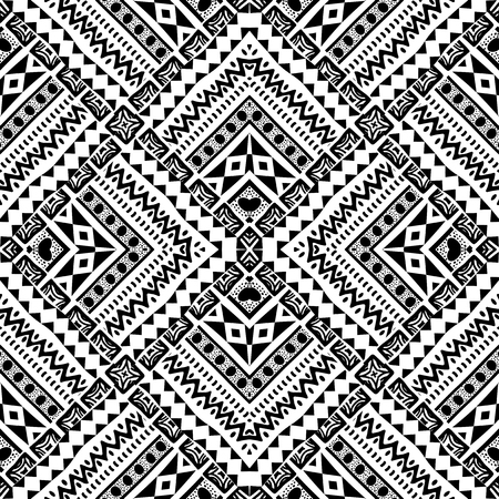 Ilustración de Abstract hand drawn geometric pattern in tribal style - Imagen libre de derechos