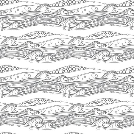 Illustration pour Sea waves seamless pattern. For coloring pages, backgrounds, fabric, page fill and more. - image libre de droit