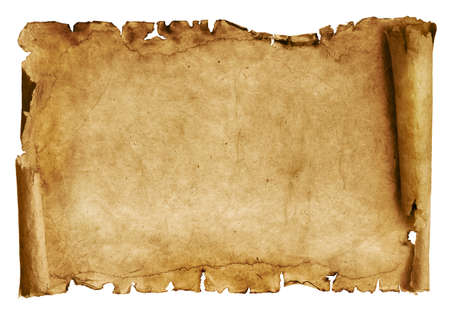 Photo for Vintage roll of parchment background isolated on white - Royalty Free Image