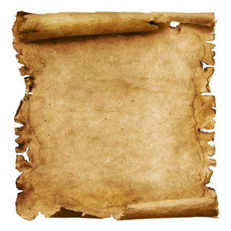 Photo pour Vintage roll of parchment background isolated on white - image libre de droit