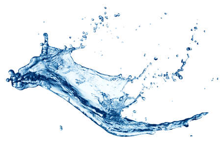 Foto de Blue water splash isolated on white background - Imagen libre de derechos