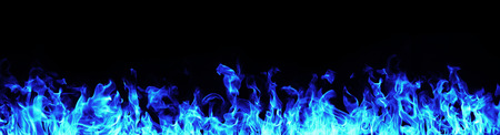 Foto de Blue Fire flames on white background - Imagen libre de derechos
