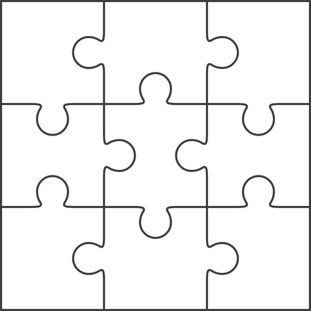 Illustration pour Jigsaw puzzle vector, blank simple template 3x3 - image libre de droit