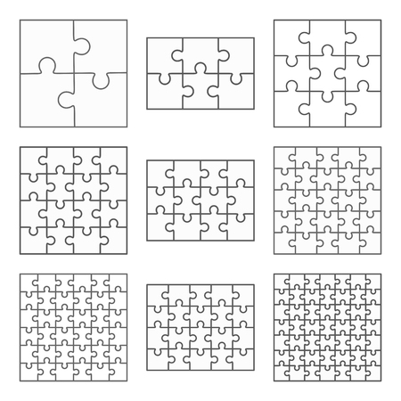 Ilustración de Jigsaw puzzle nine vector templates set of different blank simple pieces - Imagen libre de derechos