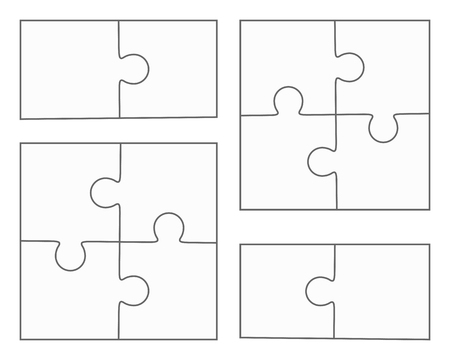 Illustration pour Jigsaw puzzle vector, blank simple templates, four pieces, two elements - image libre de droit