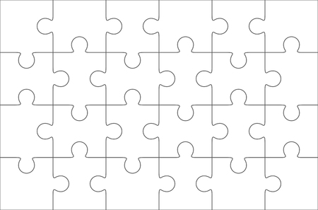 Illustration pour Jigsaw puzzle blank template 6x4 elements, twenty four puzzle pieces. Vector illustration. - image libre de droit