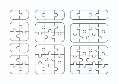 Illustration pour Jigsaw puzzle vector templates set of different blank simple pieces - image libre de droit