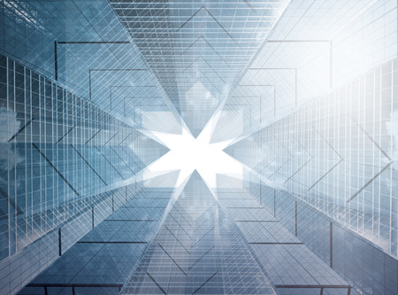 Foto de Architectural composition made of corporative buildings. Abstract business background - Imagen libre de derechos