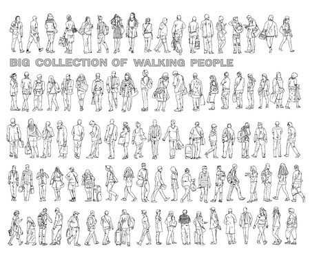 Photo pour Silhouettes of walking people, carrying bags, talking on the phone etc. Sketch collection - image libre de droit
