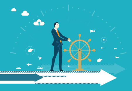 Illustration pour Businessman controlling business progress staying on the arrow and holding the ship wheel. Business leader. - image libre de droit