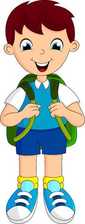 Illustration pour boys went to school with a backpack - image libre de droit