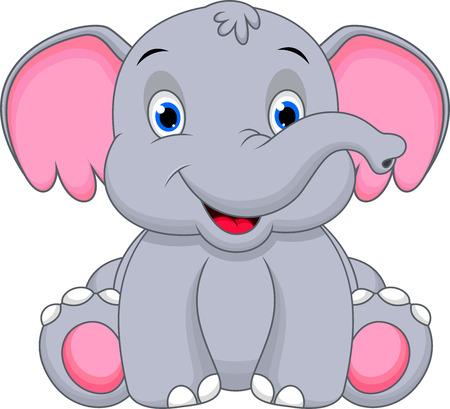 Illustration pour Cute baby elephant cartoon  - image libre de droit