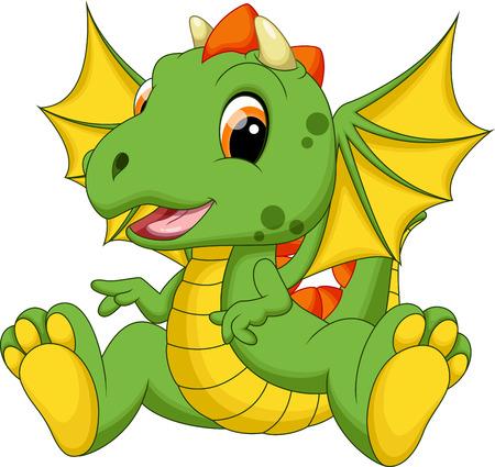 Illustration pour Cute baby dragon cartoon - image libre de droit