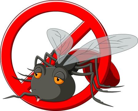 Illustration pour Stop mosquito cartoon - image libre de droit