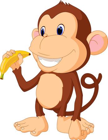 Illustration of funny Monkey eat banana