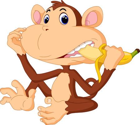 Illustration pour Illustration of funny Monkey eat banana - image libre de droit