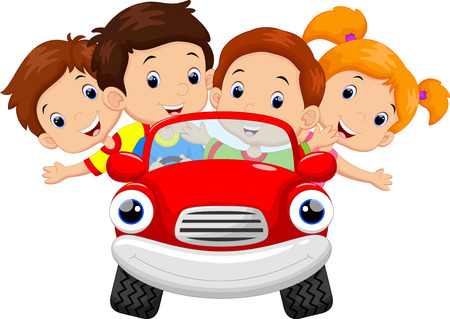 Photo pour Kids driving car cartoon - image libre de droit